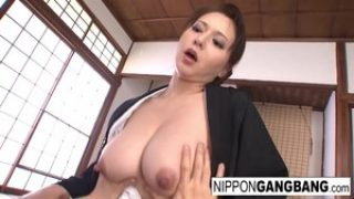 Sexy Japanese hottie gets gangbanged in her dojo