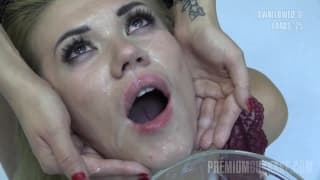 Eva loves to have her face covered in cum